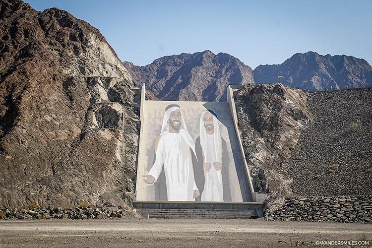 A large mural at Hatta Dam which commemorates the UAE's founding fathers, the late Sheikh Zayed bin Sultan Al Nahyan and the late Sheikh Rashid bin Saeed Al Maktoum.