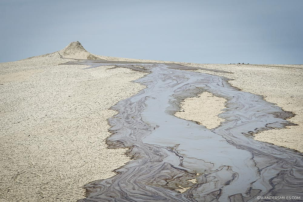 Overflowing mud volcanoes in Gobustan Nature Reserve, 65km from Baku in Azerbaijan