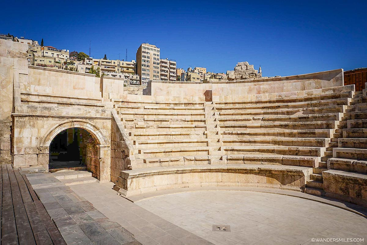 Roman Amphitheatre seats in Amman, Jordan