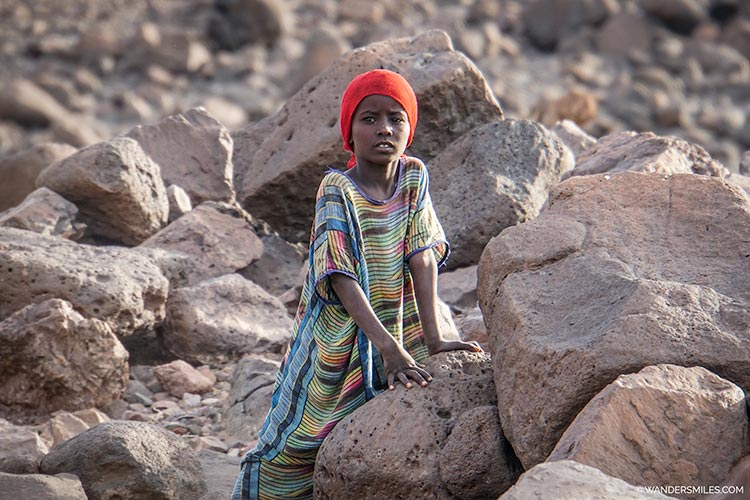 Afari girl near Wadi Abbe Bad in Djibouti, East Africa