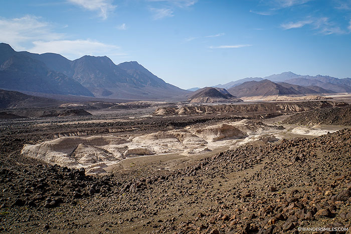 Trekking through the volcanic Danakil Desert in Djibouti, East Africa