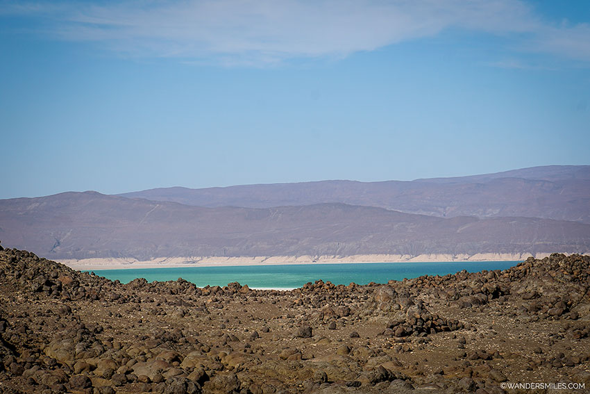 View from the volcanic landscape over Lake Assal in Djibouti, East Africa