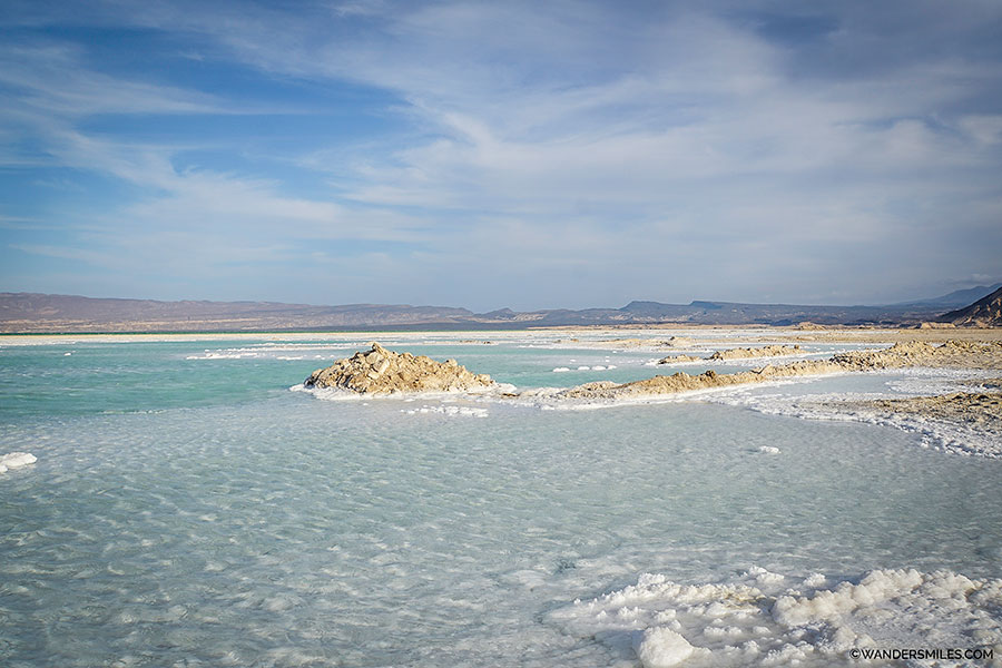 Salt plains of Lake Assal in Djibouti, East Africa