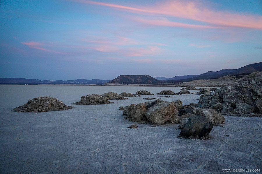 Sunset at Lake Assal in Djibouti, East Africa