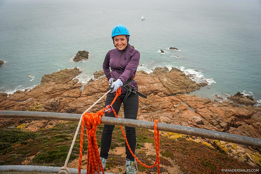 Abseiling down World War 2 German Observation tower at Noirmont Point with Wild Adventures, Jersey