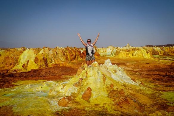 Vanessa from Wanders Miles exploring Danakil Depression and the Dallol volcano