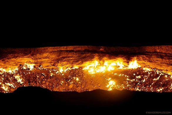 Darvaza gas crater burning at night