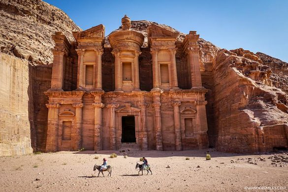 Donkeys at the Monastery in the Rose City of Petra