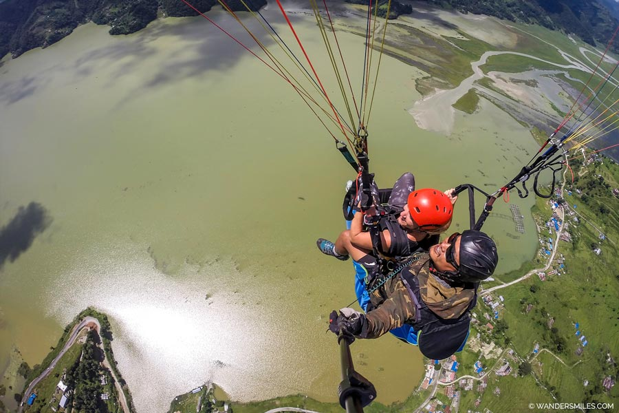 Paragliding in Pokhara over Phewa Lake