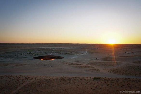 Sunrise at Darvaza gas crater