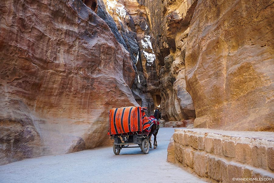 Walking through the Siq at the Pink City of Petra