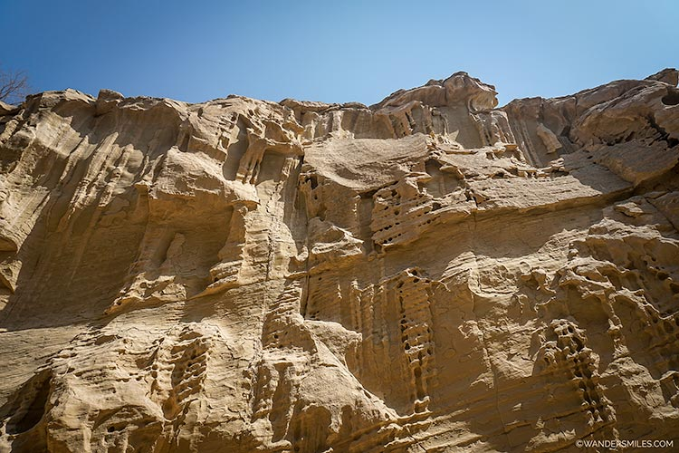 Tall rock formations in the gorge of Chahkuh Valley on Qeshm Island