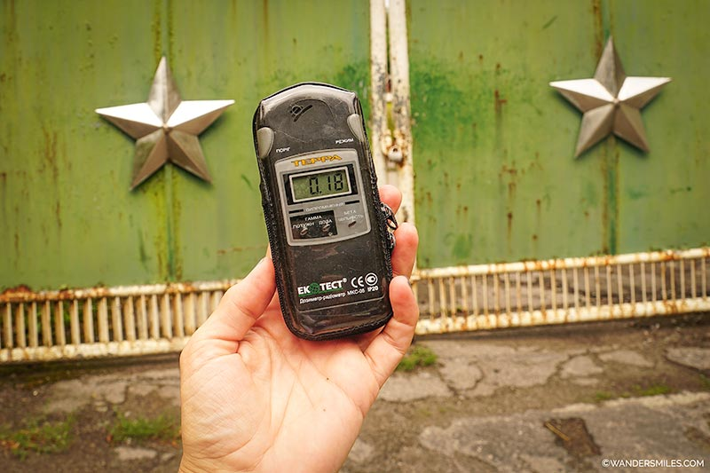 Geiger counter by the Soviet gate at Chernobyl