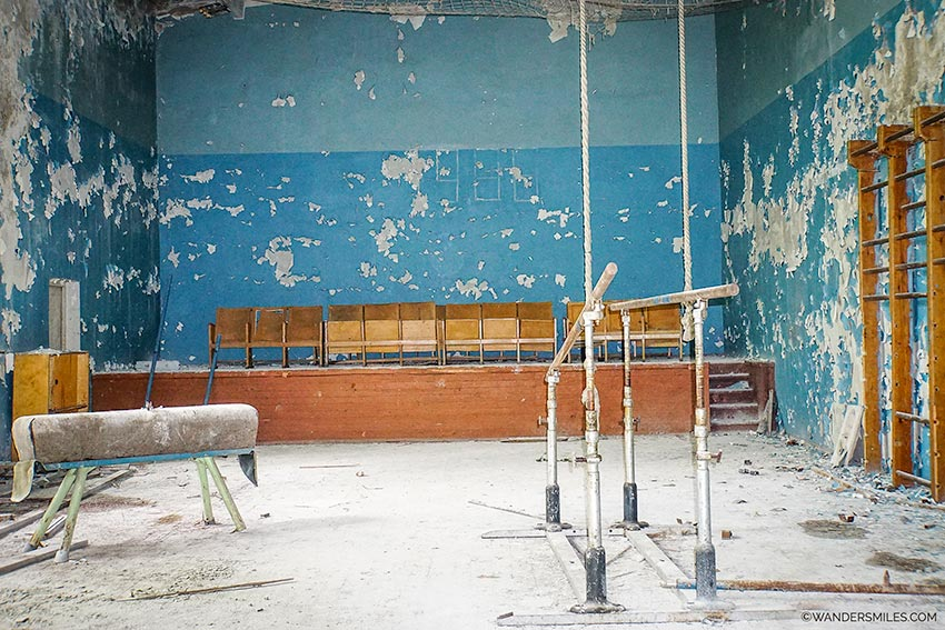 Abandoned school gym at Pripyat