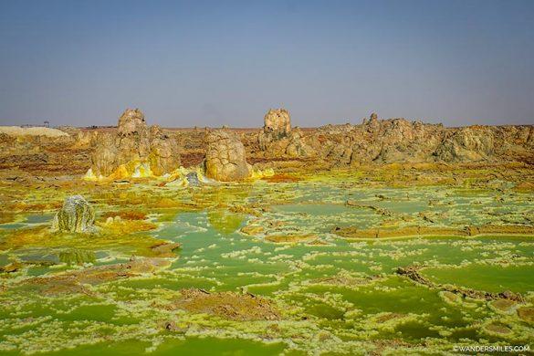 Bright green pools at Dallol volcano in Danakil Depression, Ethiopia