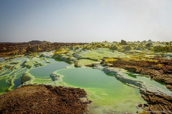 Green pools at Dallol volcano as you explore Danakil Depression