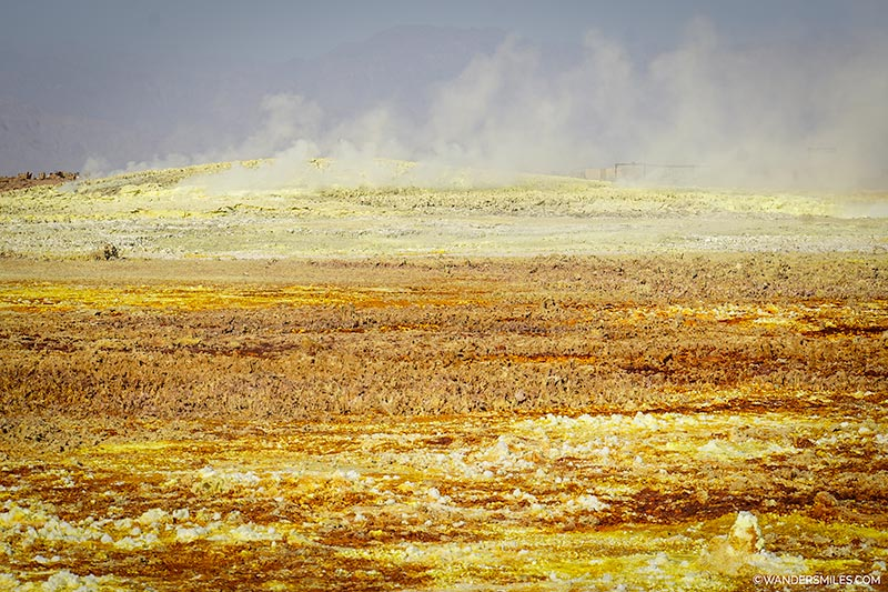 chlorine and sulphur gas steaming at the Dallol volcano in the Danakil Depression, Ethiopia