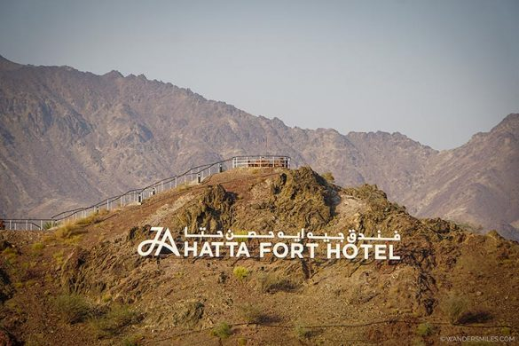 JA Hatta Fort Hotel sign on the mountain side
