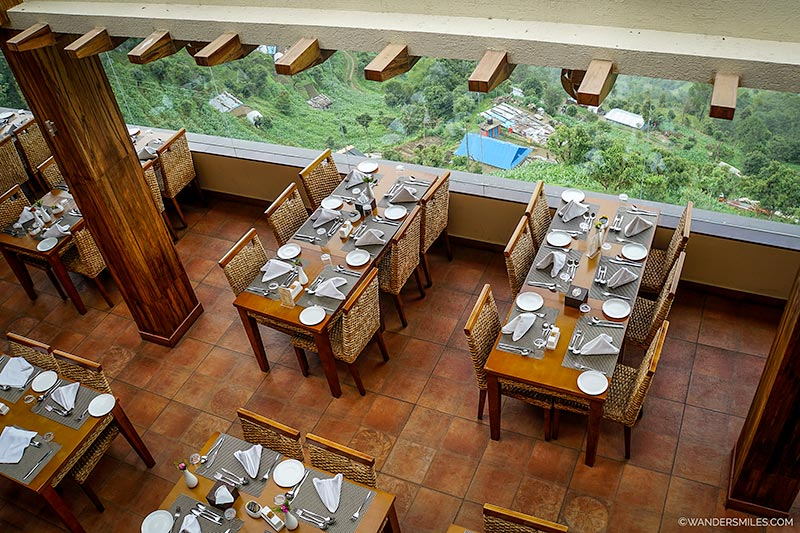 Dining room at Hotel Mystic Mountain in Nagarkot, Nepal