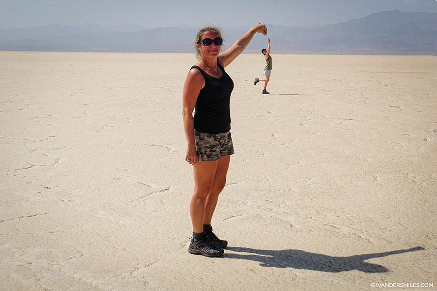 Having fun on the salt flats of Lake Asale