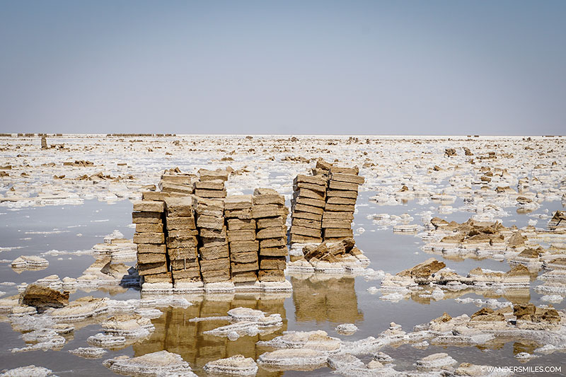 Salt blocks from the miners in Lake Asale, Ethiopia