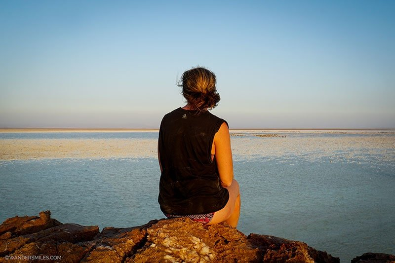 Vanessa from Wanders Miles looking out over Lake Asale in the Danakil Depression, Ethiopia