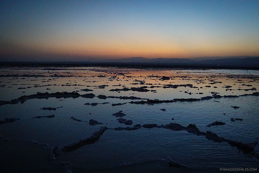 Orange and blue sunset on the salt plains of Lake Asale in the Danakil Depression