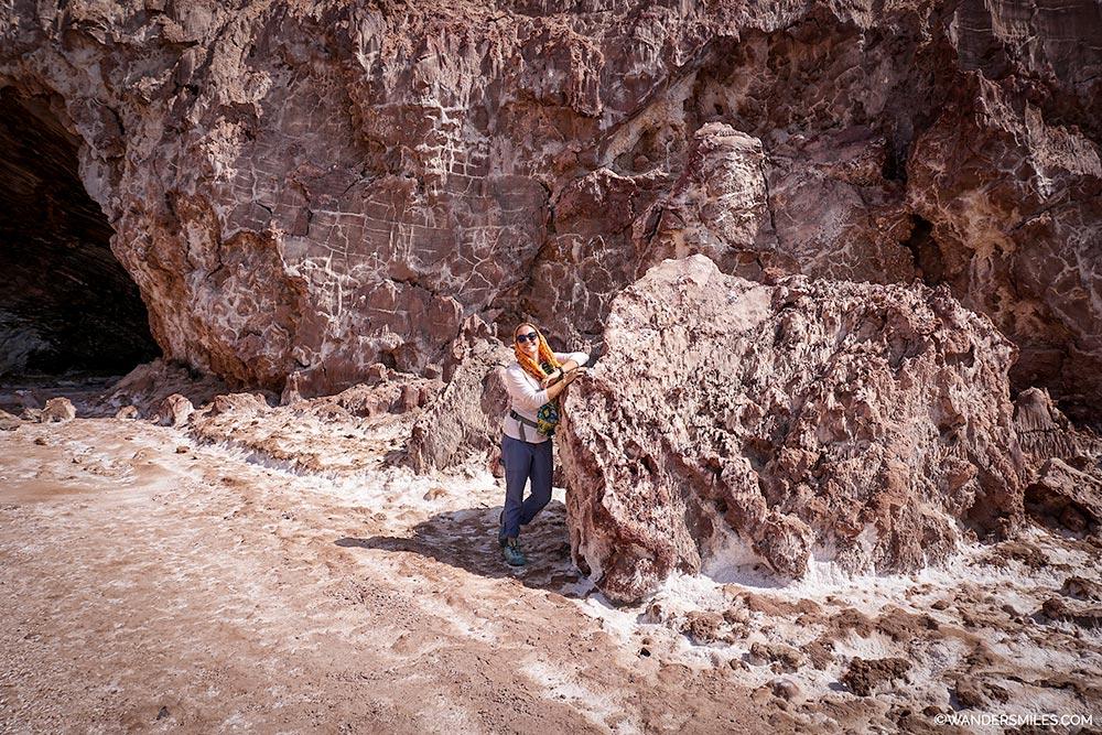 Outside the entrance to the Namakdan Salt Cave on Qeshm island, Iran