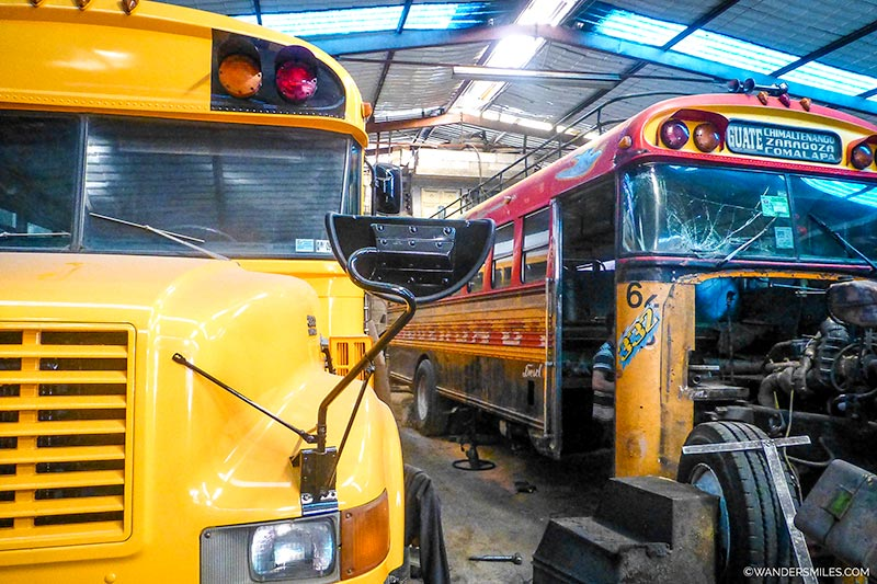 Chicken bus workshop in Cuidad Vieja, Antigua