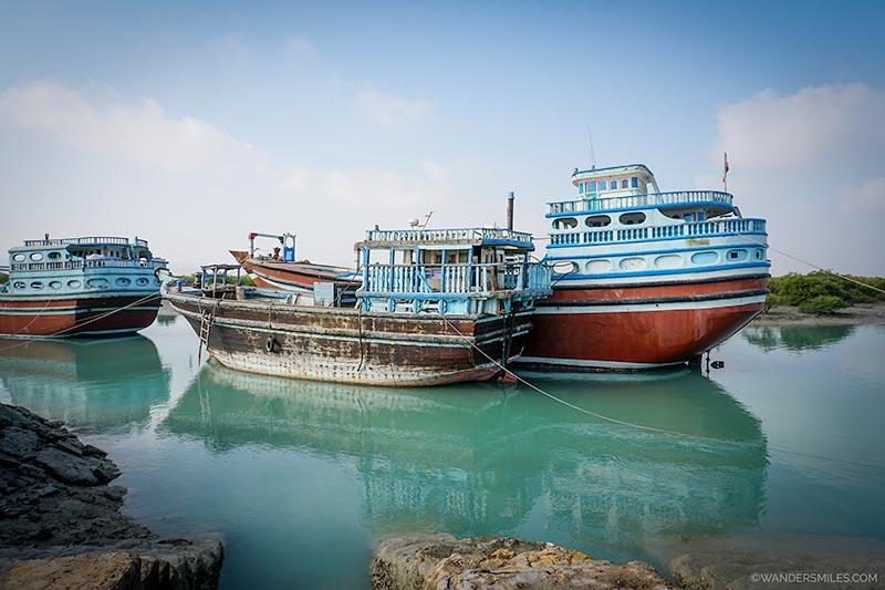 Fishing boats at the port of Hara Mangrove in Qeshm, Iran
