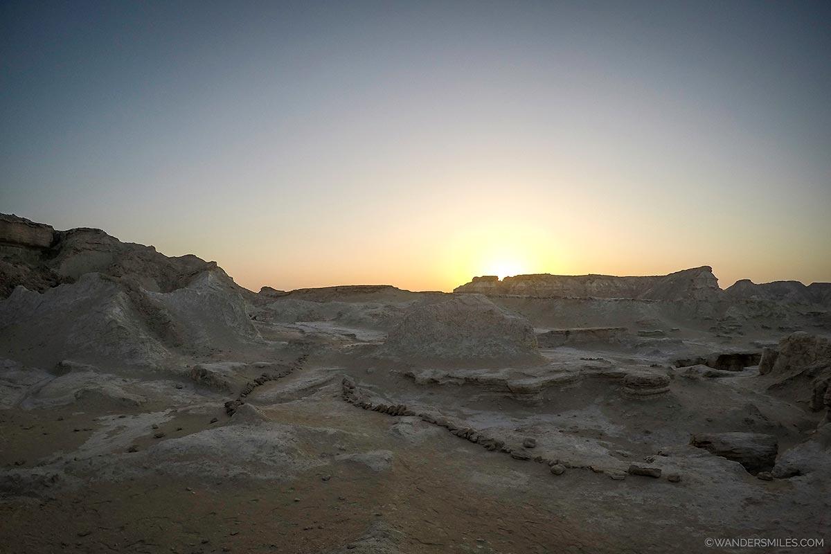 Sunset at Fallen Star Valley in Qeshm