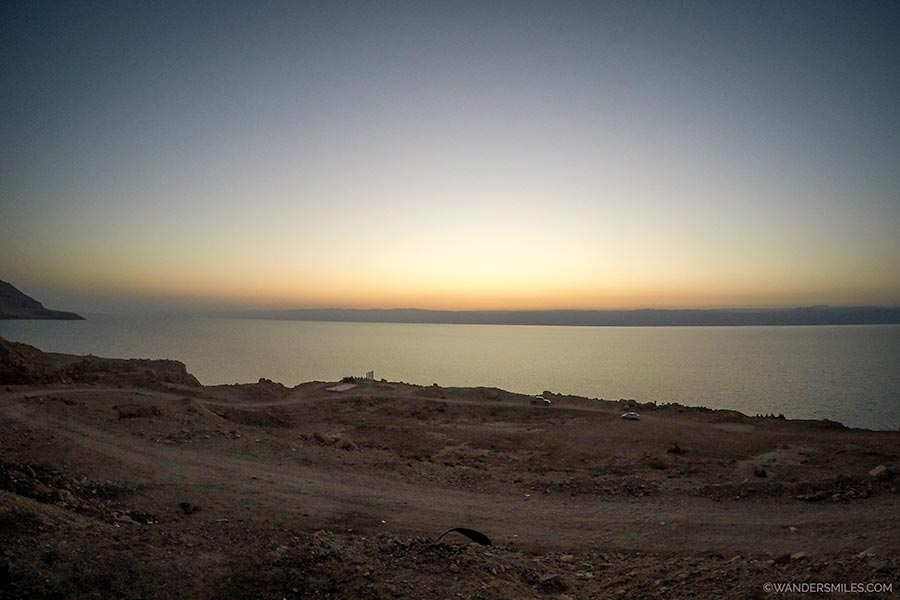 Sunset over the Dead Sea by Wadi Hamira in Jordan