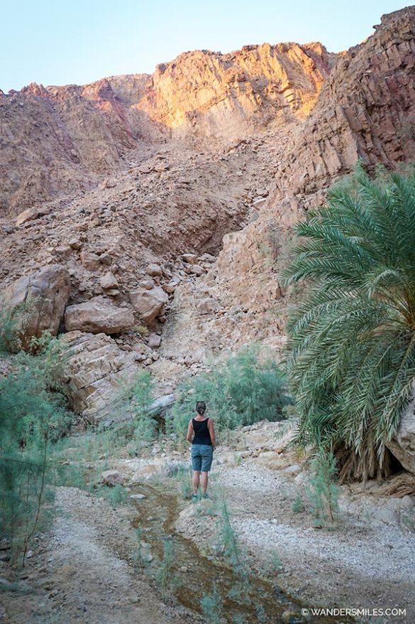 Hiking at Wadi Hamira near the Dead Sea in Jordan