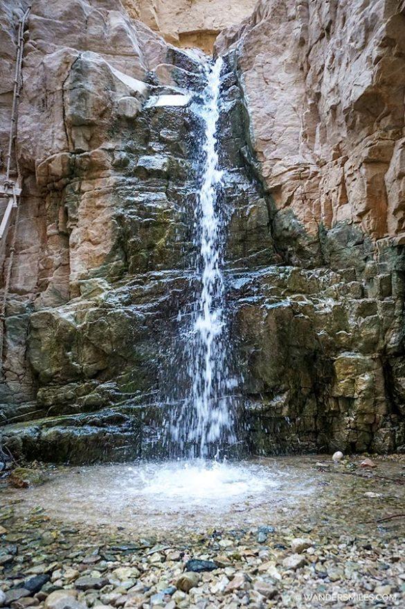 Start of the waterfall in Wadi Hamira in Jordan