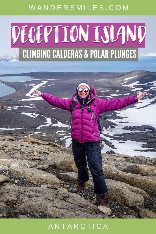 Climbing the caldera volcano on Deception Island in Antarctica