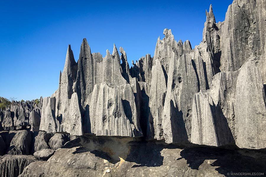Pinnacle shaped rocks on the Grande Circuit at Tsingy de Bemaraha Nature Reserve in Madagascar