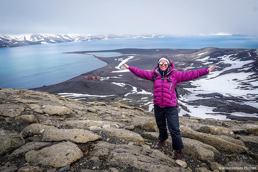 Hiking up the caldera on Deception Island, Antarctica