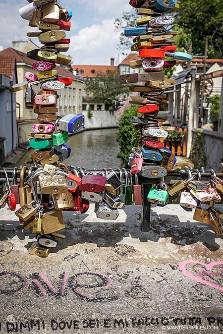Love Locks at Little Venice in Prague