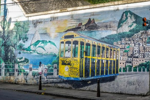 Mural by Jambeiro depicting an empty tram in Santa Teresa in Rio de Janeiro