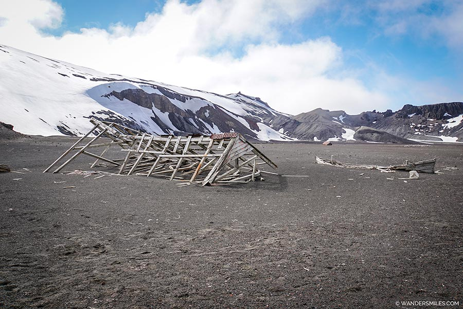 Old boat on Whalers Bay, Deception Island in Antarctica