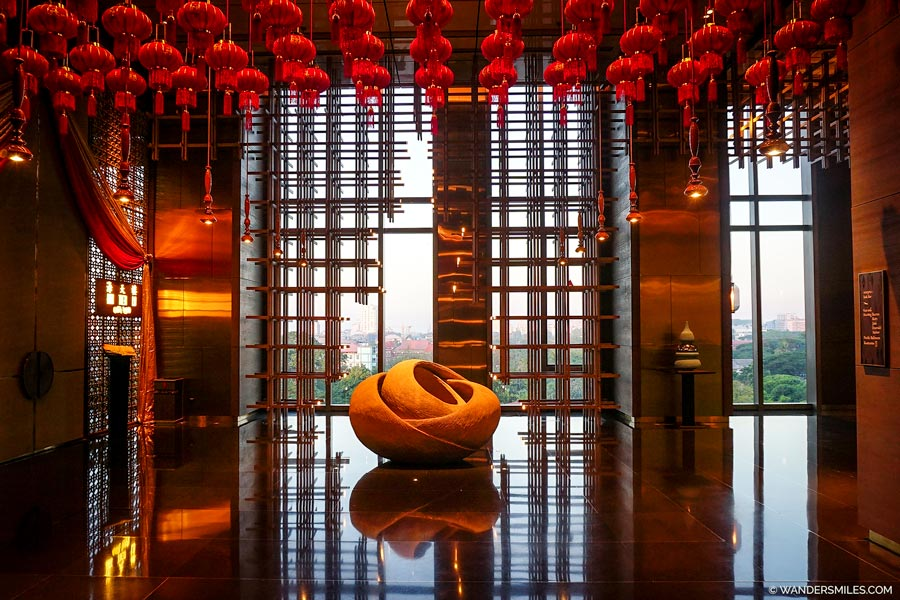Hotel reception area at the Pan Pacific Yangon
