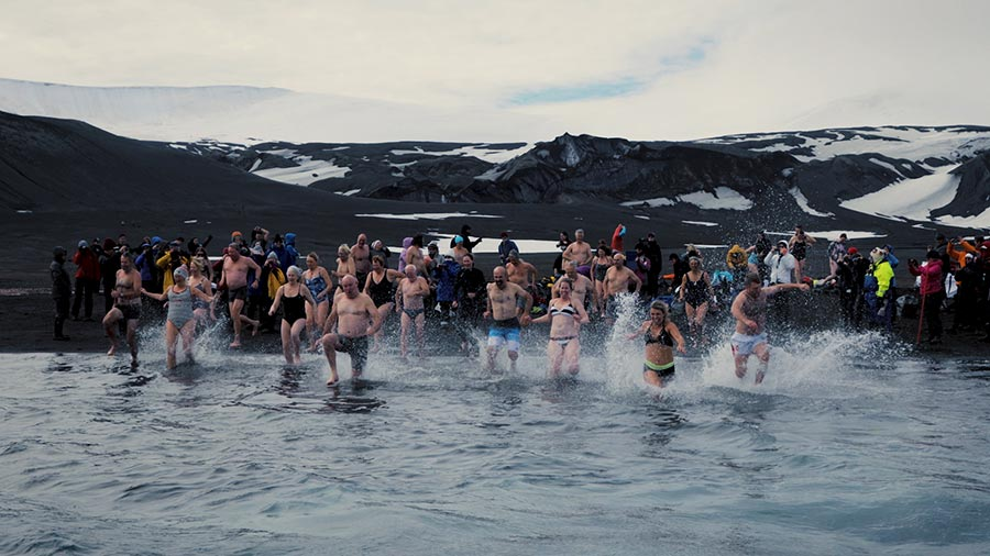 Polar Plunge on Telephon Bay, Deception Island