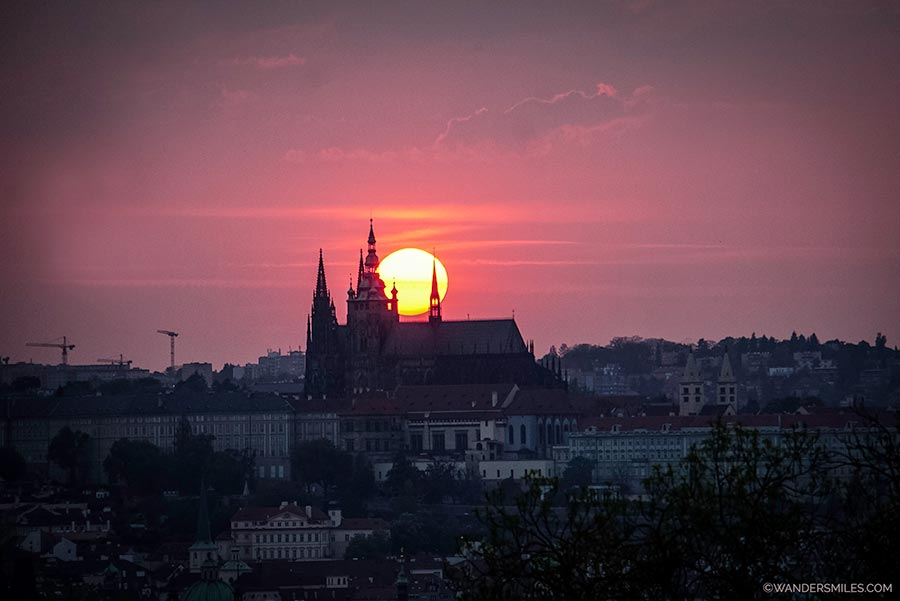 Watch sunset over Prague Cathedral from Rieger Park