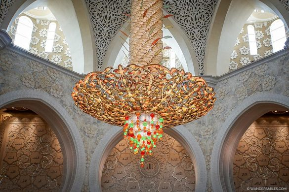 Chandelier in Sheikh Zayed Grand Mosque with Swarovski crystals