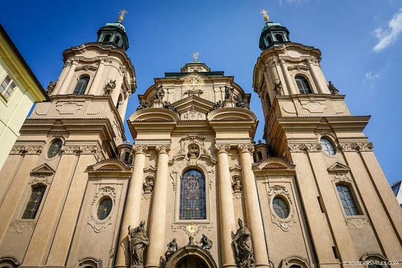 Exterior of Baroque-style St Nicholas Church in Malá Strana district of Prague