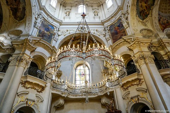 Stunning interior and chandelier in St Nicholas Church in Prague Old Town