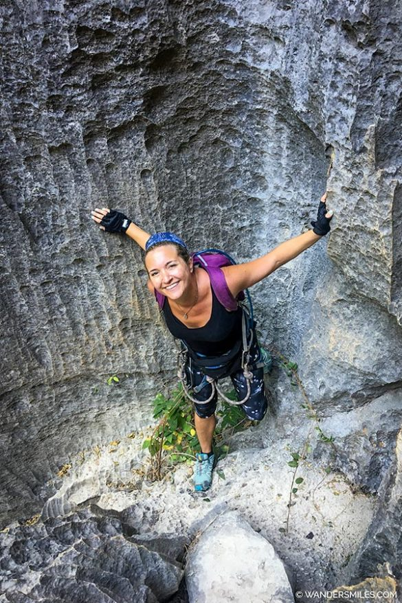 Vanessa from Wanders Miles starting the via Ferrata on the Grand Circuit at Tsingy de Bemaraha
