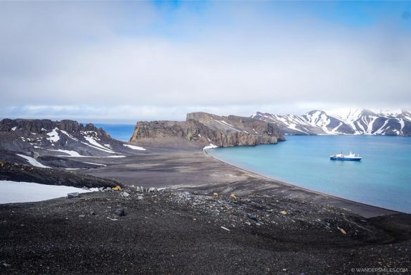 View of Neptune's Bellows from the caldera of Deception Island