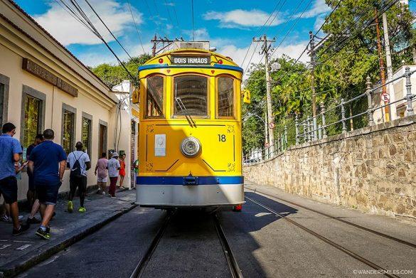 Bondes yellow tram in the Santa Teresa neighbourhood in Rio