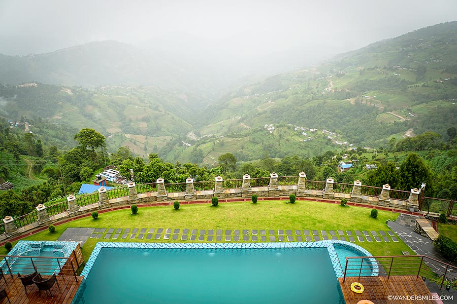 Views from the bedrooms at Hotel Mystic Mountain in Nagarkot showing the Himalayas and swimming pool